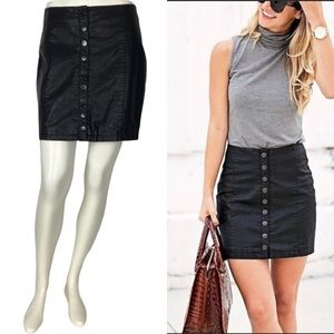 Free People Faux Leather Oh Snap Black Mini Skirt